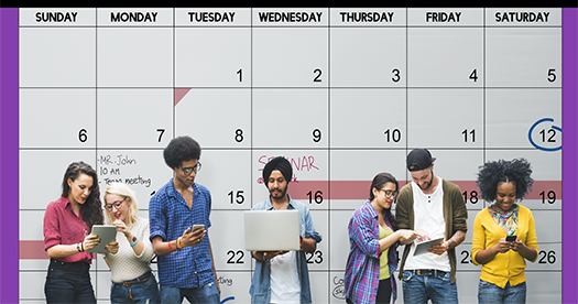 diverse group of people on their phone in front of a wall that is a calendar month image